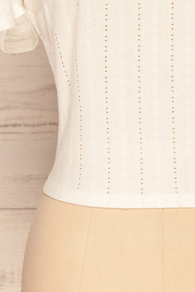 Aversa White Openwork T-Shirt with Open Back | La Petite Garçonne bottom close-up