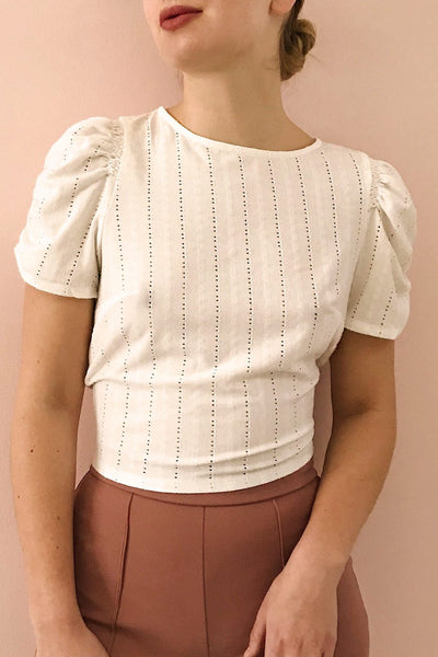 Aversa White Openwork T-Shirt with Open Back | La Petite Garçonne model close up