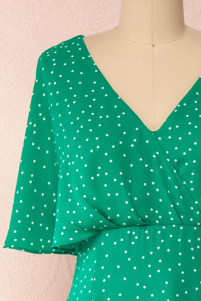 Ayelen Green Polka Dot Midi Dress w/ Frills | Boutique 1861 front close-up
