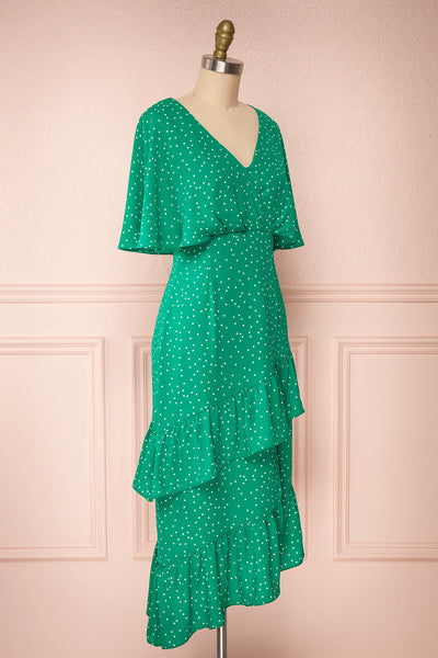 Ayelen Green Polka Dot Midi Dress w/ Frills | Boutique 1861 side view