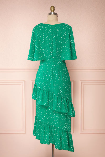 Ayelen Green Polka Dot Midi Dress w/ Frills | Boutique 1861 back view