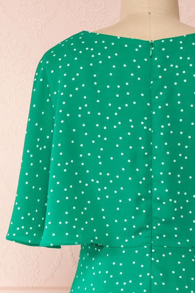 Ayelen Green Polka Dot Midi Dress w/ Frills | Boutique 1861 back close-up