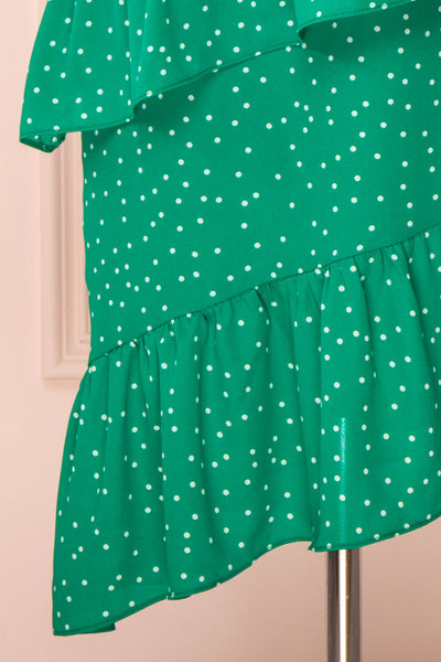 Ayelen Green Polka Dot Midi Dress w/ Frills | Boutique 1861 bottom