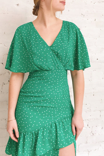 Ayelen Green Polka Dot Midi Dress w/ Frills | Boutique 1861 on model