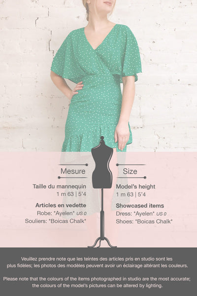 Ayelen Green Polka Dot Midi Dress w/ Frills | Boutique 1861 template