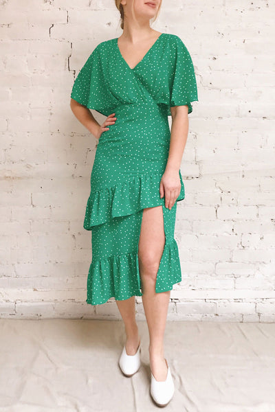 Ayelen Green Polka Dot Midi Dress w/ Frills | Boutique 1861 model look