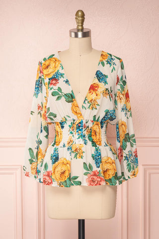Aygen Colourful Floral Chiffon Peplum Blouse | Boutique 1861