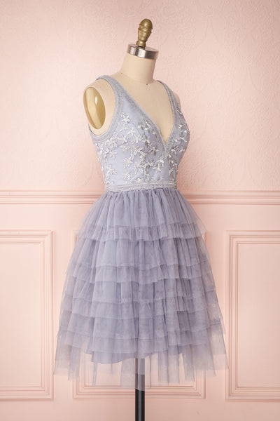 Ayten Mystery Grey Floral Tulle A-Line Dress | Boutique 1861 4