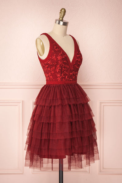 Ayten Passion Burgundy Floral Tulle A-Line Dress | Boutique 1861 4
