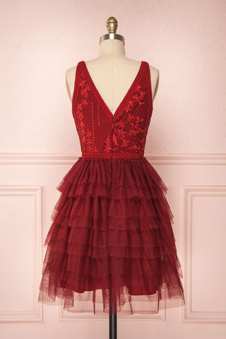 Ayten Passion Burgundy Floral Tulle A-Line Dress | Boutique 1861 6