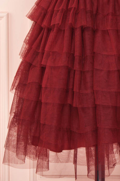 Ayten Passion Burgundy Floral Tulle A-Line Dress | Boutique 1861 8
