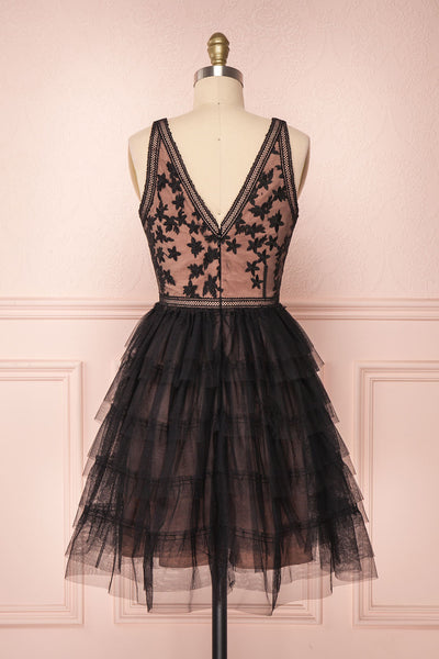 Ayten Secret Black Floral Tulle A-Line Dress | Boutique 1861 6