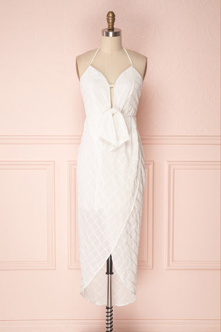 Azenor White Check Pattterned Bridal Halter Dress | Boudoir 1861