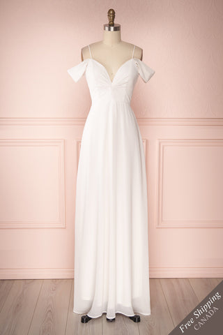 Azheil Ivory Empire Waist Pleated Neckline Bridal Dress | Boudoir 1861