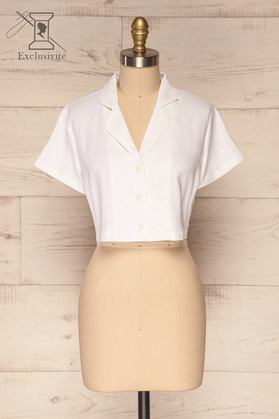 Azuay Ivory Button-Up Crop Top w Shirt Collar | La Petite Garçonne 1