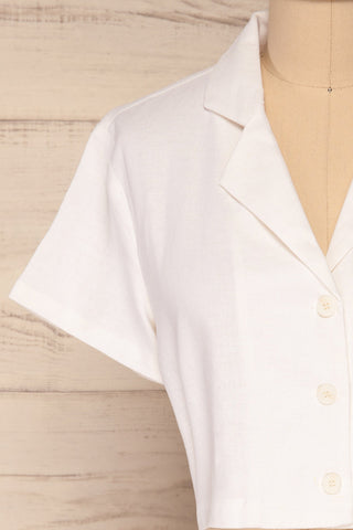 Azuay Ivory Button-Up Crop Top w Shirt Collar | La Petite Garçonne 3