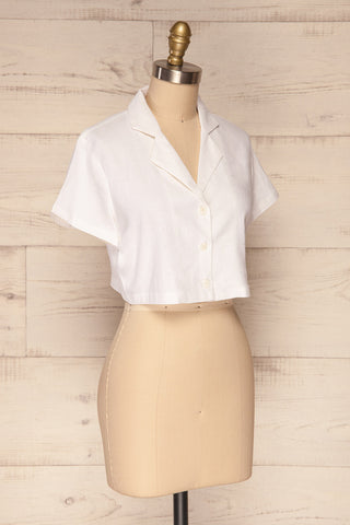 Azuay Ivory Button-Up Crop Top w Shirt Collar | La Petite Garçonne 4
