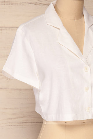 Azuay Ivory Button-Up Crop Top w Shirt Collar | La Petite Garçonne 5
