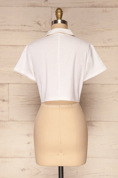 Azuay Ivory Button-Up Crop Top w Shirt Collar | La Petite Garçonne 6