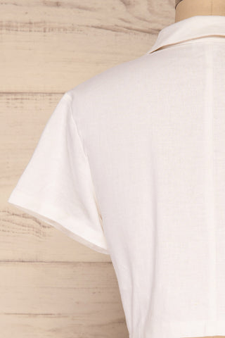 Azuay Ivory Button-Up Crop Top w Shirt Collar | La Petite Garçonne 7