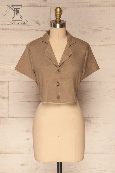Azuay Taupe Button-Up Crop Top w Shirt Collar | La Petite Garçonne 1