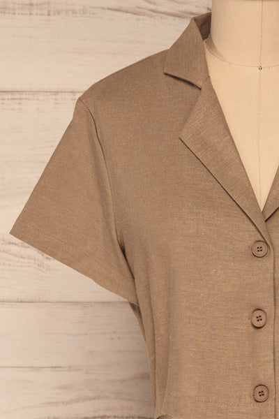 Azuay Taupe Button-Up Crop Top w Shirt Collar | La Petite Garçonne 3