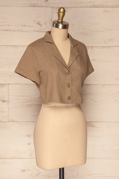 Azuay Taupe Button-Up Crop Top w Shirt Collar | La Petite Garçonne 4