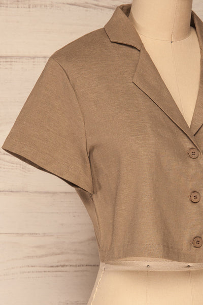 Azuay Taupe Button-Up Crop Top w Shirt Collar | La Petite Garçonne 5