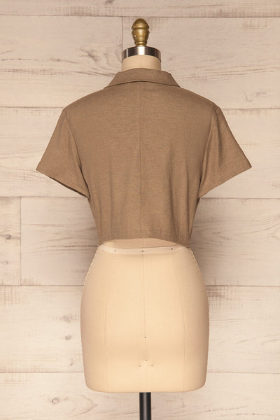 Azuay Taupe Button-Up Crop Top w Shirt Collar | La Petite Garçonne 6