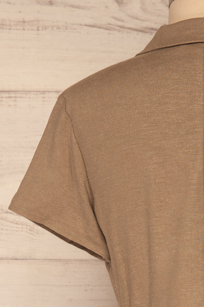 Azuay Taupe Button-Up Crop Top w Shirt Collar | La Petite Garçonne 7