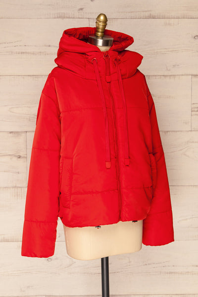 Bachillero Red Cropped Puffer Jacket | La petite garçonne side view