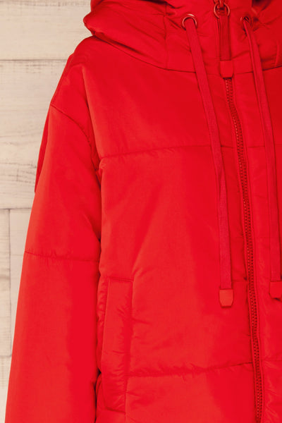 Bachillero Red Cropped Puffer Jacket | La petite garçonne side close-up
