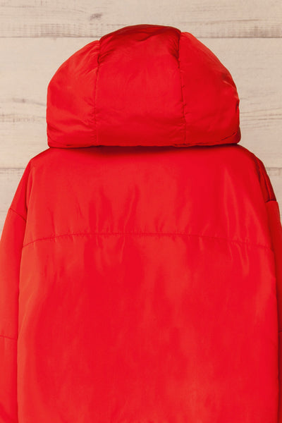 Bachillero Red Cropped Puffer Jacket | La petite garçonne back close-up