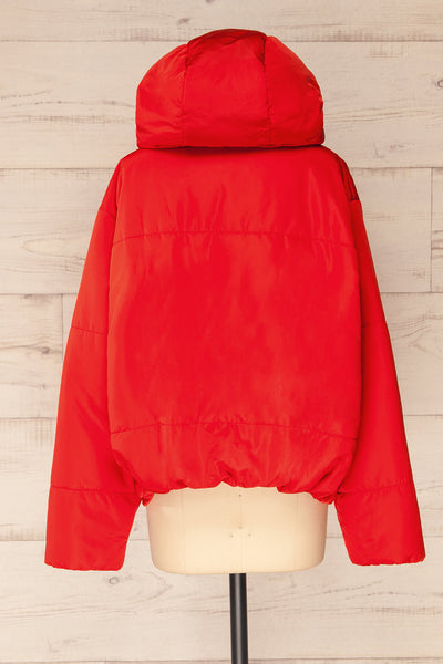 Bachillero Red Cropped Puffer Jacket | La petite garçonne back view
