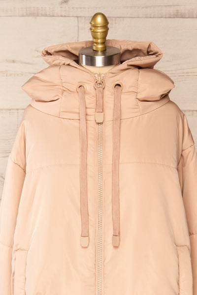 Bachillero Beige Hooded Puffer Jacket | La petite garçonne front close-up