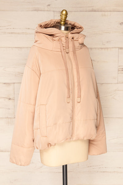 Bachillero Beige Hooded Puffer Jacket | La petite garçonne side view
