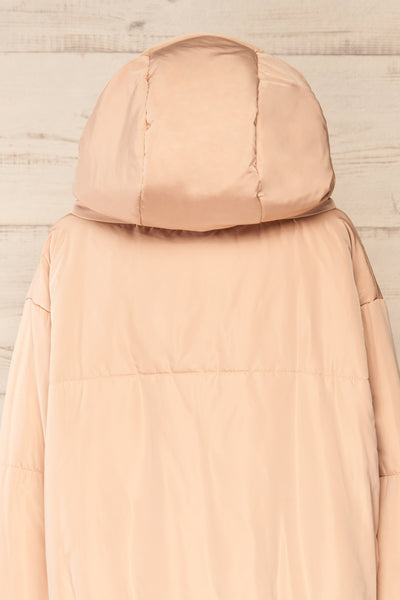 Bachillero Beige Hooded Puffer Jacket | La petite garçonne back close-up