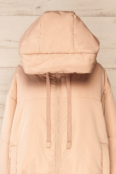Bachillero Beige Hooded Puffer Jacket | La petite garçonne front close-up hood