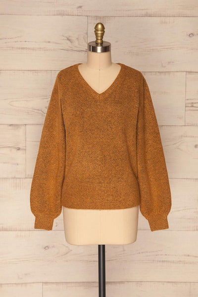 Badajoz Variegated Ochre Knit Sweater with V-Neck | La Petite Garçonne front view