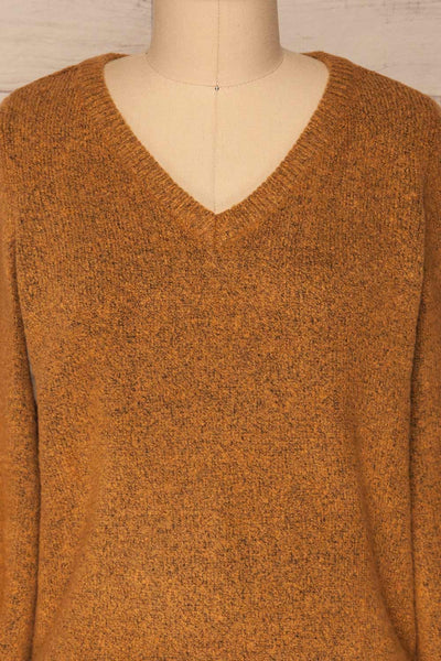 Badajoz Variegated Ochre Knit Sweater with V-Neck | La Petite Garçonne front close-up