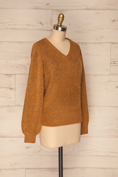 Badajoz Variegated Ochre Knit Sweater with V-Neck | La Petite Garçonne side view
