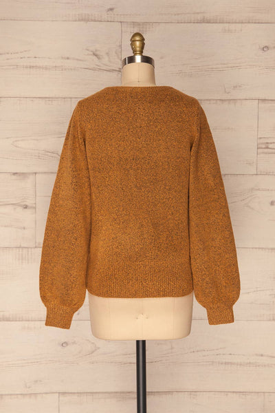 Badajoz Variegated Ochre Knit Sweater with V-Neck | La Petite Garçonne back view