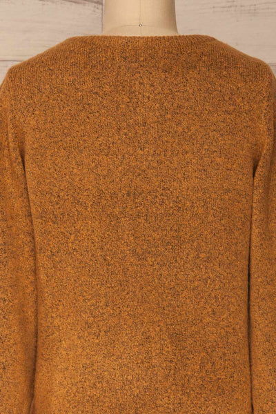 Badajoz Variegated Ochre Knit Sweater with V-Neck | La Petite Garçonne back close-up