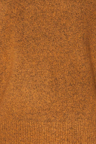 Badajoz Variegated Ochre Knit Sweater with V-Neck | La Petite Garçonne fabric detail