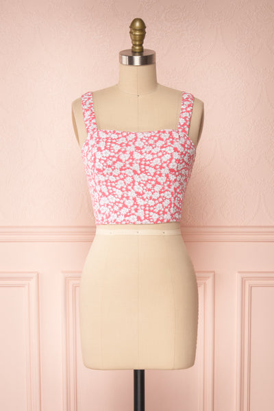 Bahuli Pink & White Floral Crop Top | Boutique 1861 front view