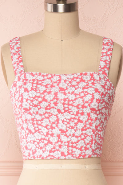 Bahuli Pink & White Floral Crop Top | Boutique 1861 front close up