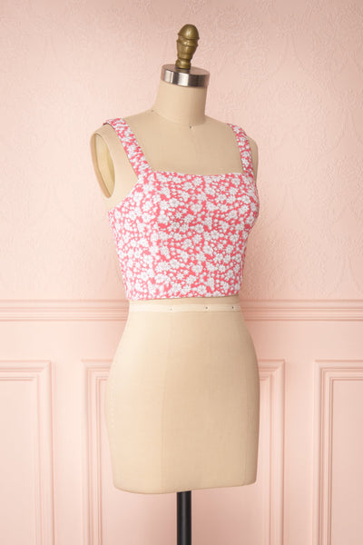 Bahuli Pink & White Floral Crop Top | Boutique 1861 side view