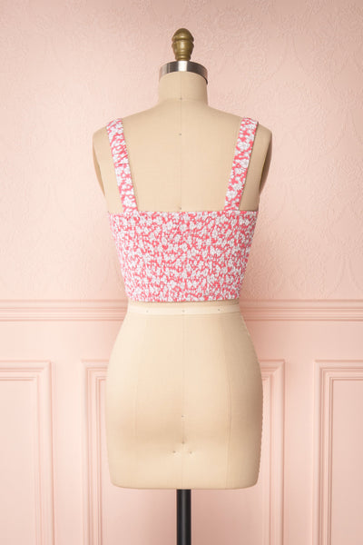 Bahuli Pink & White Floral Crop Top | Boutique 1861 back view