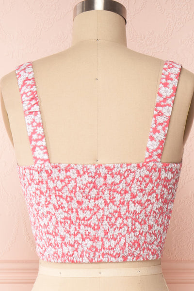 Bahuli Pink & White Floral Crop Top | Boutique 1861 back close up