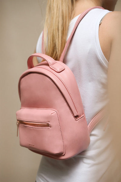Balimina Candy Pink Vegan Backpack | La Petite Garçonne Chpt. 2 on model